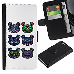 ARTCO Cases - Apple Iphone 5 / 5S - Psychedelic Huichol Bear Totem Pattern - Cuero PU Delgado caso Billetera cubierta Shell Armor Funda Case Cover Wallet Credit Card