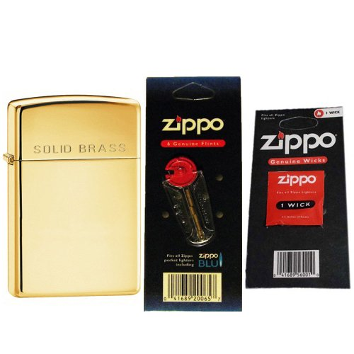 Zippo 1654 Slim High Polish Solid Brass Engraved Windproof Lighter with One Flint Card and One Wick (Solid Brass High Polish)
