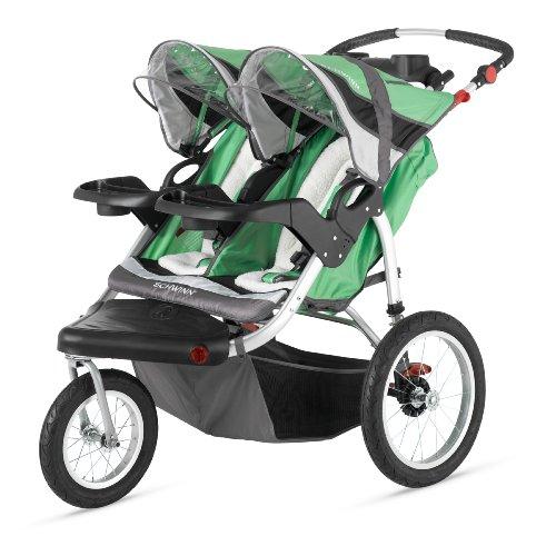 schwinn-turismo-double-swivel-stroller-green-black