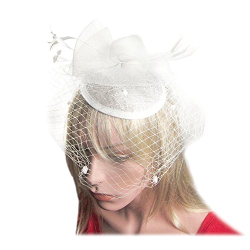Feather Flower Fascinator Polka Dot Net Pillbox Cocktail Hat Hair Clip in (White Polyester Hair Net)