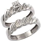 14k White Gold 2-Pc Diamond Engagement Ring Set w/ 0.143 Carat Brilliant Cut Diamonds, 5/32 in. (5mm) wide