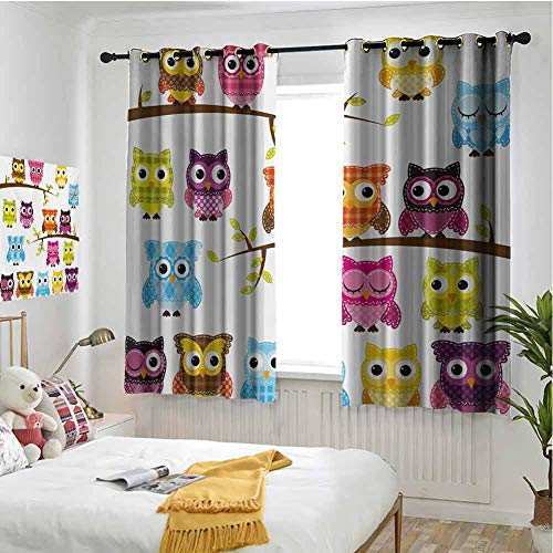 hengshu Nursery Blackout Curtains for Bedroom Patchwork Quilt Style Owls on Branches Animals with Green Leaves Bird Mascots Print Pattern Curtains Long W72 x L62 Inch Multicolor
