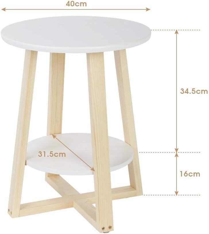 Zerone Semplice e Moderno Doppio tavolino,Bianco Tavolino Basso da Divano Tondo Comodino a 2 Piani archiviazione 40 /× 40 /× 50,5 cm