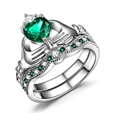 Caperci Rhodium Plated Sterling Silver Claddagh Ring Heart Shape Created Emerald Wedding Engagement Bridal Sets
