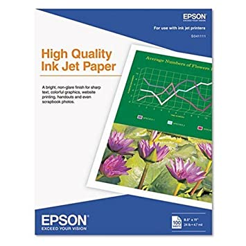 Amazon.com : Epson Inkjet Paper (8.5x11 Inches, 100 Sheets ...