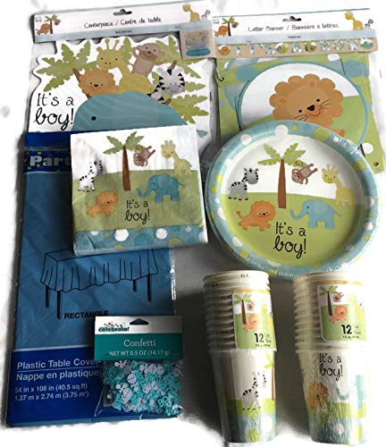 Safari Baby Shower Decoration bundle for Boy, includes plates, napkins, cups, banner, table cover, centerpiece, and confetti -