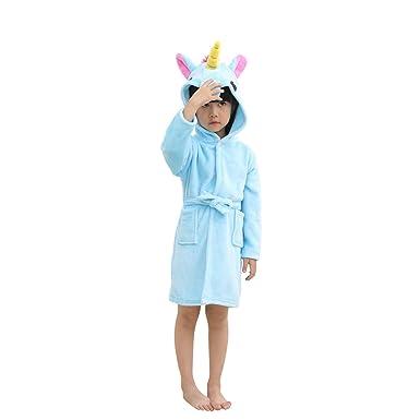 2d29f4856c FCTREE Kids Unicorn Hooded Robe Plush Bathrobe Toddler Pajamas Sleepwear  For Children (12-24