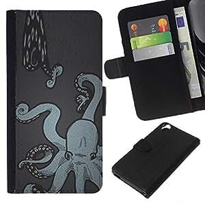 A-type (Art Painting Snake Sea Kraken) Colorida Impresión Funda Cuero Monedero Caja Bolsa Cubierta Caja Piel Card Slots Para HTC Desire 820