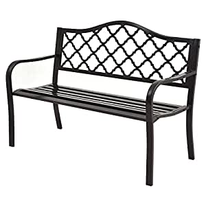 Giantex 50 Patio Garden Bench Loveseats Park Yard Furniture Decor Cast Iron Frame