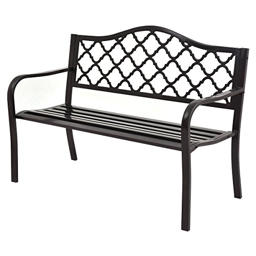 Giantex 50'' Patio Garden Bench Loveseats Park Yard Furniture Decor Cast Iron Frame Black (Black Style 1) by Giantex