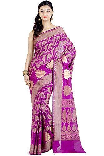 Chandrakala Women's Pink Banarasi Cotton Silk Saree