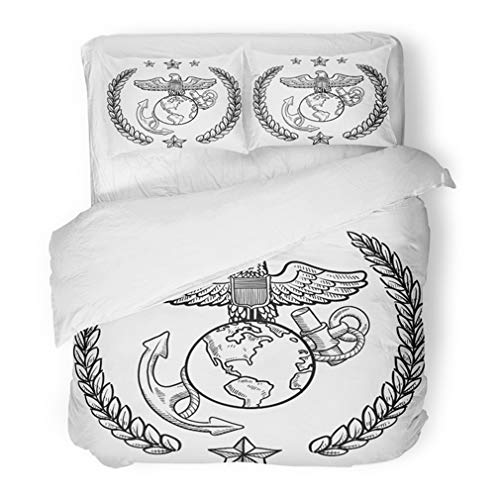 - Emvency Bedding Duvet Cover Set Twin (1 Duvet Cover + 1 Pillowcase) Doodle Military Rank Insignia for Us Marine Corps Including Globe and Anchor Hotel Quality Wrinkle and Stain Resistant