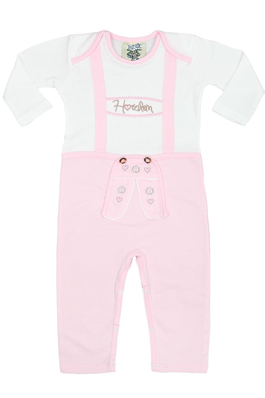 Baby - Mädchen Isar-Trachten Babystrampler Lederhose rosa langarm, weiß-rosa,