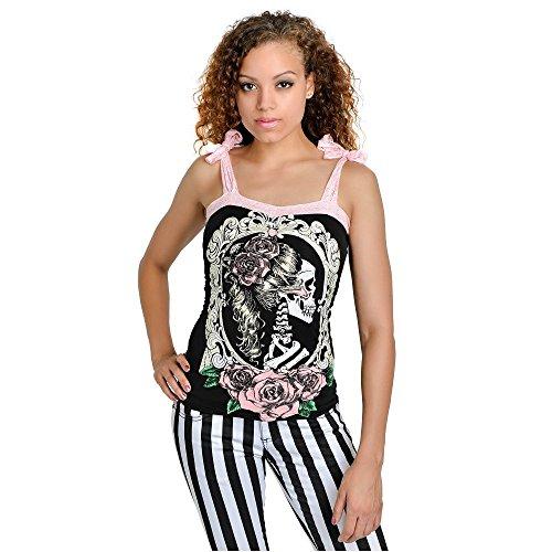 Too Fast Annabel donna Steampunk Bow canottierina scheletro signora cammeo Cameo - Skull T-Shirt