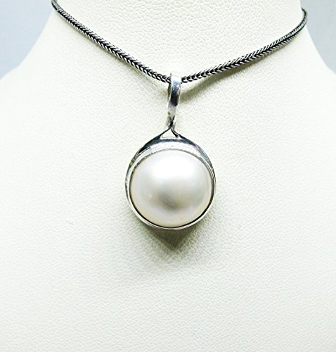 Mabe Pearl Necklace Pendant - handmade 925 sterling silver pendant with 15 mm round white mabe pearl, white mabe pearl pendant, genuine mabe pearl necklace pendant