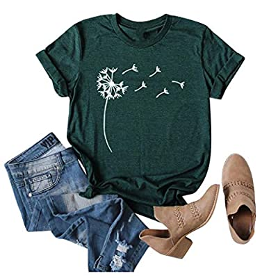EDC Graphic Tees for Women Basic Casual Dandelion Print Short Sleeve Pullover Crewneck T Shirt Shirts Tops Blouse at Women's Clothing store