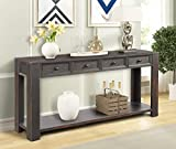 P PURLOVE Console Table for Entryway Hallway Easy Assembly 64'' Long Sofa Table with Drawers and Bottom Shelf (Black)