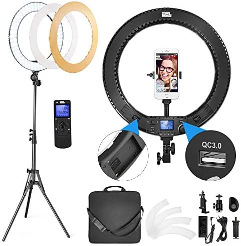Pixel 18in Ring Light, 60W Bi-Color LED Ring Light with Stand and Remote Controller for Camera, iPhone, Smartphones, Video Conference, Zoom, Vlog, YouTube, TikTok, Self-Portrait Shooting, Photography