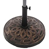NatureFun Patio Umbrella Stand Base Resin Bronze 19.5-Inch 32lbs