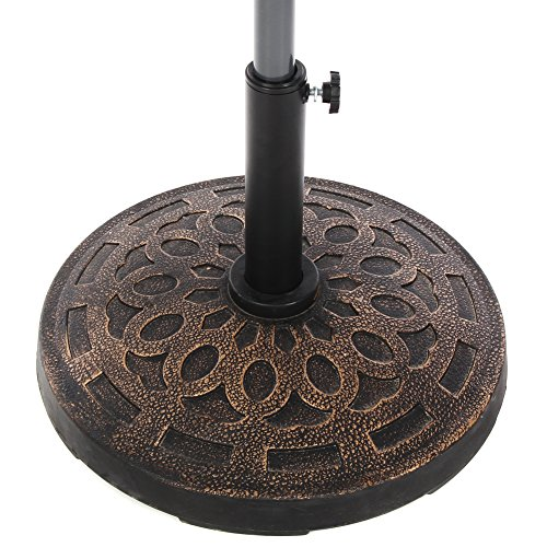 Cheap  NatureFun Patio Umbrella Stand Base Resin Bronze 19.5-Inch 32lbs