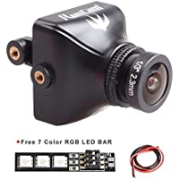 Weyland RunCam Swift 2 600TVL FPV Camera Mini 2.3mm for Flying Drones150 Degree OSD WDR DC 5-36V NTSC Integrated MIC for Multicopter Black with 1 PCS RGB LED BAR