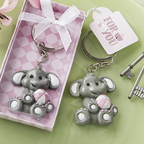 Adorable Baby Elephant with Pink Design Key Chain (50)