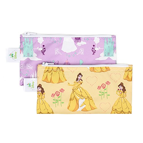 Bumkins Disney Baby Reusable Snack Bag Small 2 Pack, Princess (Belle/Princess Purple)