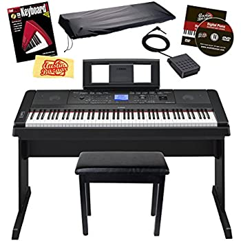 yamaha dgx 660 88 key weighted action digital grand piano with matching stand black. Black Bedroom Furniture Sets. Home Design Ideas