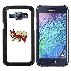 """Samsung Galaxy J1 / J100 , JackGot - Impreso colorido protector duro espalda Funda piel de Shell (Cráneo cuadrilla divertido Blanca Bufanda Roja"""")"""