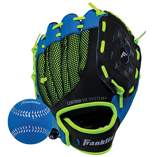 Franklin Sports Teeball Glove - Left and Right Handed Youth Fielding Glove - Neo-Grip - Synthetic Leather Baseball Glove - 9.0 Inch Right Hand Throw - Ready To Play Glove - Blue (Best Leather For Baseball Gloves)
