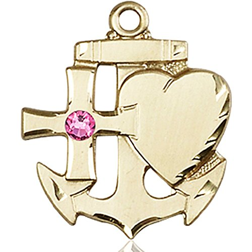 14kt Yellow Gold Faith Hope & Charity Medal with 3mm October Rose Swarovski Crystal 7/8 x 3/4 inches by Bonyak Jewelry Saint Medal Collection
