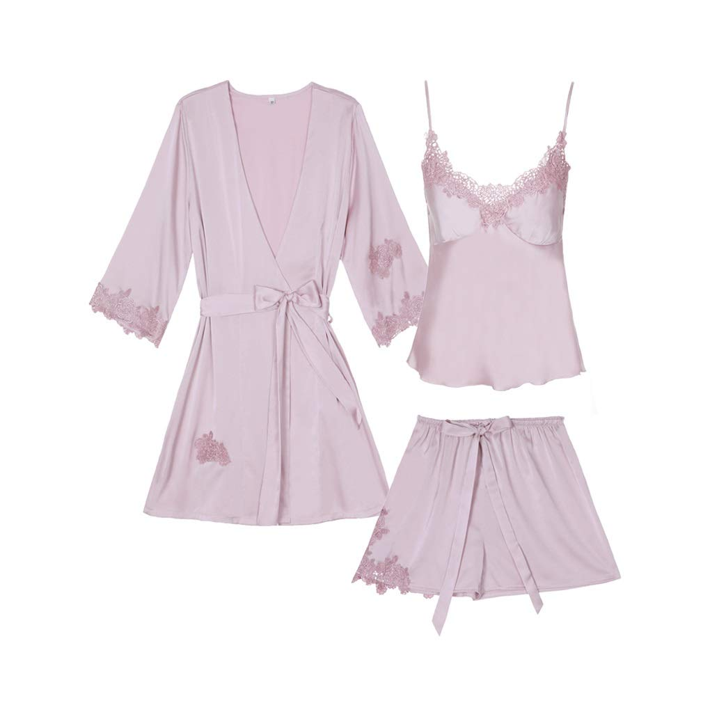 Pink Pajamas Women Summer Sexy Lace Robe with Chest Pad Sling Shorts Home Service Set ThreePiece Pajamas (color   Pink, Size   L)