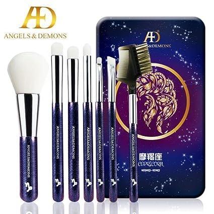 Cute Makeup Brush Kit with 12 Horoscope Signs, Soft Powder Eyeshadow Eyebrow Concealer Blending Makeup Brush Set. With Metal Box 7pcs & Mirror. (Taurus) Yafa Premium