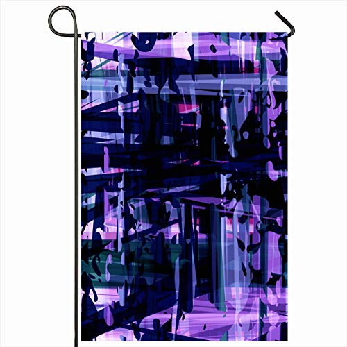 Ahawoso Outdoor Garden Flag 12x18 Inches Endless Night Blue Violet Abstract Batik Concert Tissue Chaotic Club Continuity Dance Party Home Decor Seasonal Double Sides House Yard Sign Banner