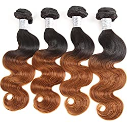 Brazilian Human Hair Body Wave Virgin Hair one Bundles Weaves Unprocessed Human Hair Brazilian Body Wave Hair Extensions Natural Color (20-20-20-20, 1B/30)