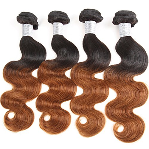 XYHair Brazilian Virgin Ombre body wave Hair 4 Bundles Grade 7A 100% Unprocessed Human Hair Weave Extensions two Tone #1b/30 Color total 268g (16161616, 1B/30)