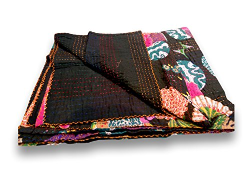 Sophia Art Indian Fruit Reversible Bedspread Pattern Blue Gudri Pure Cotton Kantha Style Queen Size Quilt Bed Spread Floral & Fruit Print Decorative Kantha Stitch Quilt 90X108 NCH. (Black)