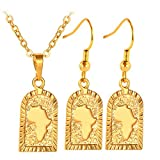 U7 Women Gold Plated Cave Shaped Africa Map Design Pendant Necklace Earrings Set