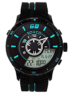 So & Co New York Monticello Men's Quartz Watch With Black Dial Analog - Digital Display and Black Rubber Strap 5035.3