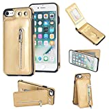 Shinyzone Leather Wallet Case for iPhone 8 Plus/iPhone 7 Plus,[Magnetic Buckle] [Zipper Pocket] Kickstand Function with Card Holder Protective Back Cover for iPhone 8 Plus/iPhone 7 Plus,Gold