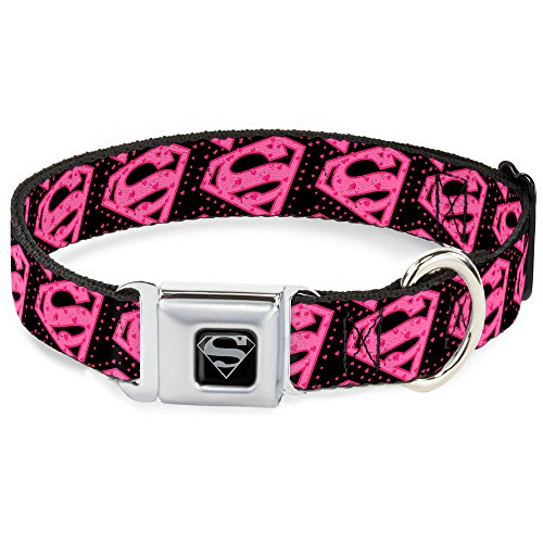 "Buckle-Down 15-26"" Diagonal Superman Logo w/Hearts Black/Pink Dog Collar, Large"