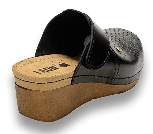 Zoccoli Pantofole 1001 Leon Scarpe Sabot nero Pelle Donna 4Z6fRq
