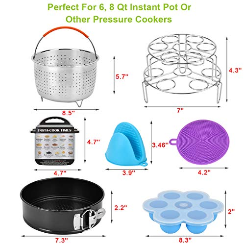 Accessories Set for Instant Pot-Fits 6,8Qt Pressure Cooker,12-Pcs with Steamer Basket/Egg Steamer Rack/Egg Bites Molds/Non-stick Springform Pan/Magnetic Cheat Sheets/Oven Mitts/Silicone Sponge by Will Well (Image #6)