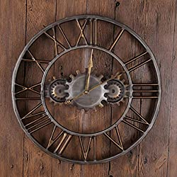 Fengfeng Wall Clock, Gears Clocks European and American Style Creative Retro Metal Clock Ornaments Home Living Room Bar Art Hollowed-Out Wall Bell