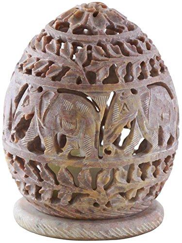 Tealight Holder Hand Carved Elephant Figurines – Ivory Soapstone Votive Holders