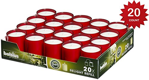 Bolsius Set Of 20  Relight Party, Restaurant Votive Candles In Red Cup Burns Aprox. 24 Hour  (Hour Glass Red)