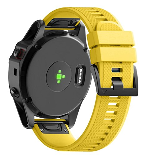Sinwo Personalize Replacement Silicagel Quick Install Band Strap For Garmin Fenix 5X GPS Watch (Yellow, Band Wide: 26MM)