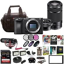 Sony Alpha a6500 Digital Camera w/SELP1650 16-50mm & SEL55210B 55-210 Zoom Lenses & Rode Video Mic GO BundlE