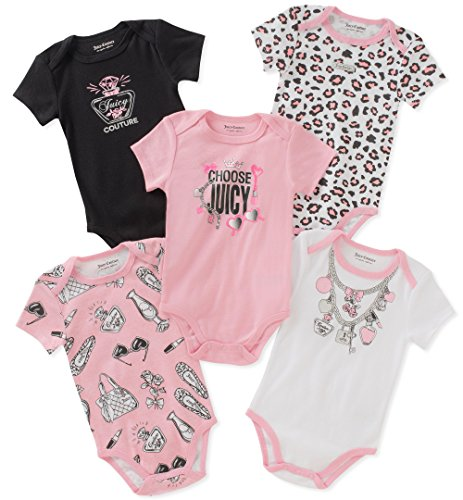 Juicy Couture Baby Girls 5 Packs Bodysuit, Pink/White/Black, 6-9 Months