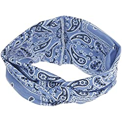NEEKEY Womens Headbands Women Yoga Sport Elastic Floral Hair Band Headband Turban Twisted Knotted(Free Size,Blue)